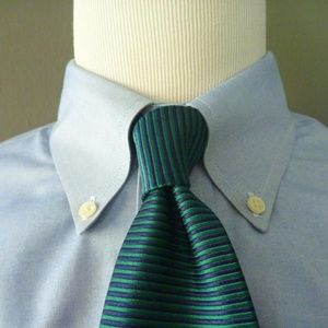 Brooks Brothers MAKERS Navy & Teal Silk Twill Tie